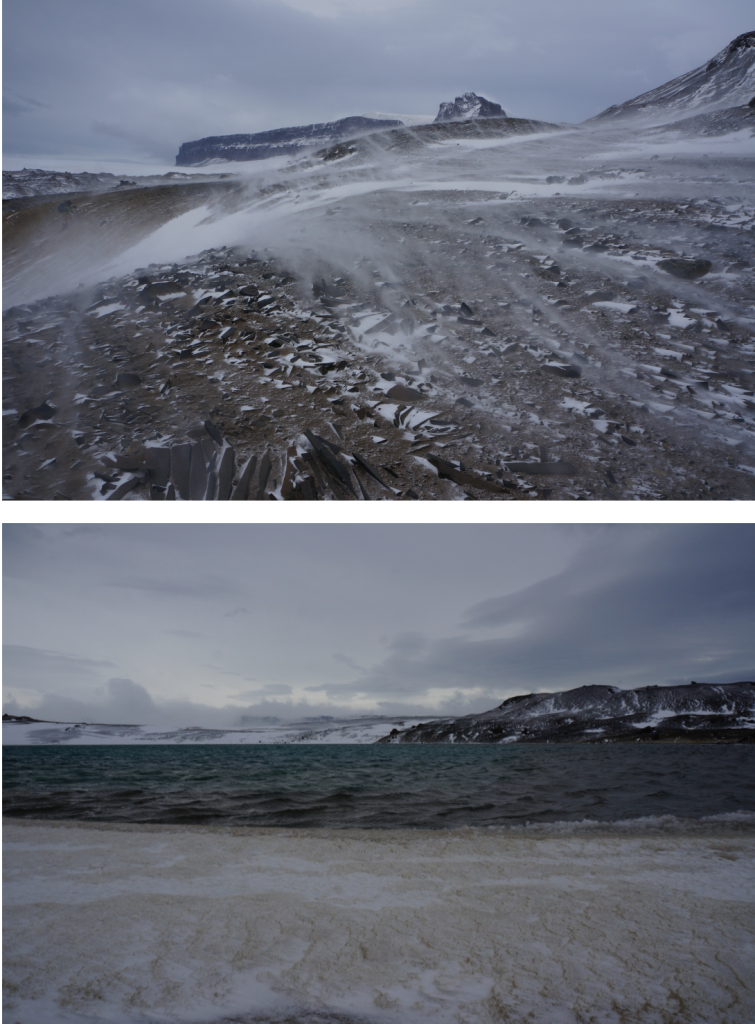 Image: Scenes from the return trek to camp from Sandwich Bluff. Top, example of the wind affecting the snow, driving it across the ground. Bottom, example of the wind affecting standing water. Normally walking by this 'pond', the water would have been quite still. As you can see, there was plenty of wave action.